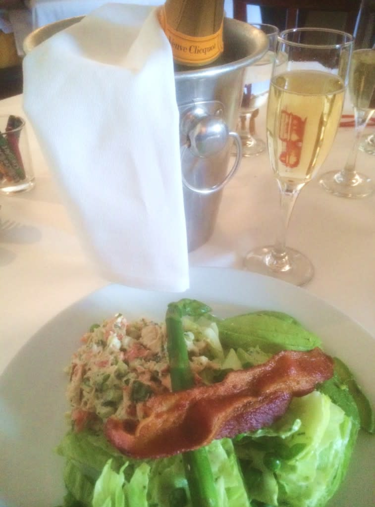 Applewood-smoked bacon is a special surprise on Santacafe's Maine Lobster Salad.