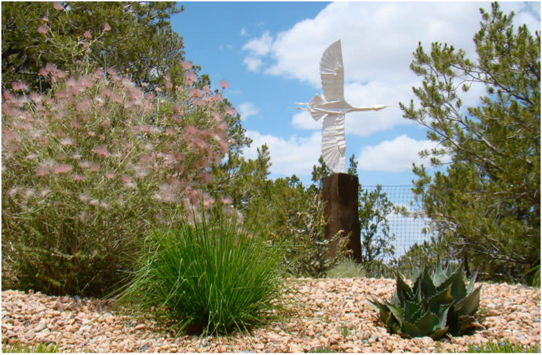 Birds of more than one kind of feather land in the Santa Fe Botanical Garden. (Photo credit: Santa Fe Botanical Garden)