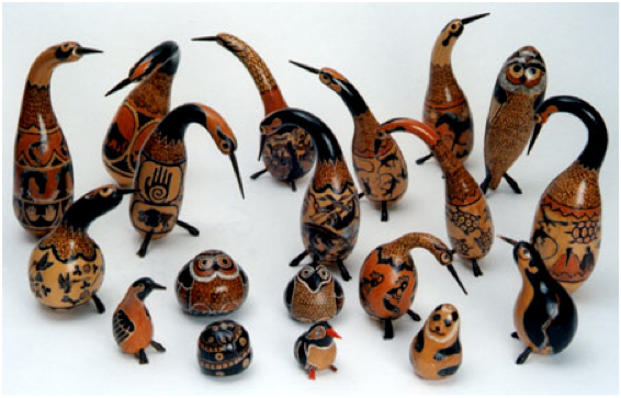 Birds will chirp overhead as you view Mario Hinoso's fanciful gourd sculptures down below at the Northern New Mexico Fine Arts and Crafts Guild Show. (Photo Credit: Northern New Mexico Fine Arts and Crafts Guild)