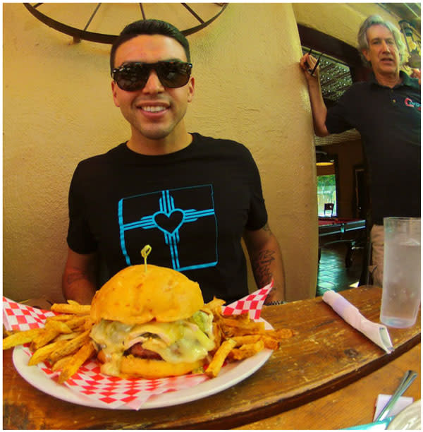 Nick Peña of Food Tour New Mexico knows it's right to honor your Mother Burger at the Cowgirl. (Photo Credit: Nick Peña)