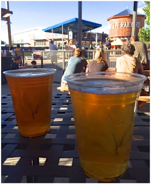 Relaxing over a brew while you await your burger's arrival is a favored locals' past-time at Second Street Brewery at the Railyard.