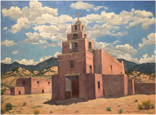 """San Miguel,"" this 1941 oil on canvas by Regina Tatum Cooke in the collection of the New Mexico Museum of Art, shows off New Mexico's unchanging combination of blue sky and adobe."