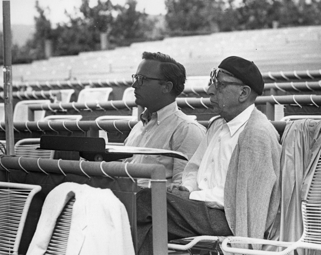 SFO Founder––and General Director for 43 phenomenal seasons––John Crosby watches a rehearsal with his mentor, composer Igor Stravinsky. (Photo Credit: Santa Fe Opera)
