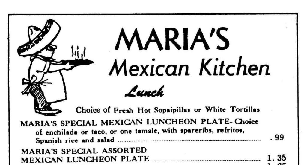 This original menu from Maria's dates back to 1950. Take a look at those prices! (Courtesy of Al Lucero)