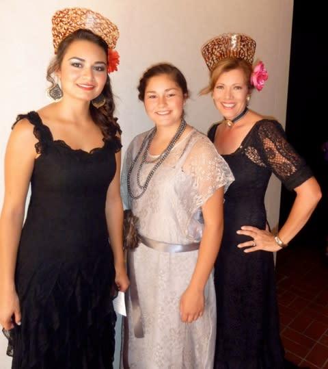 Miranda Anaya, Alayna Montoya and Carla Aragon model some of La Sociedad Folklorica's collection. (Courtesy of Carla Aragon)