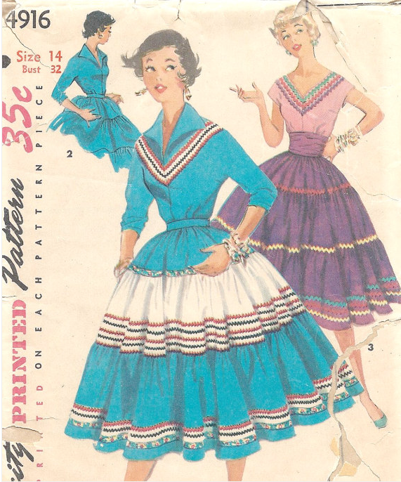 "A 1950s Simplicty Pattern for a ""Squaw/Patio"" skirt and blouse. (Courtesy of Simplicity)"