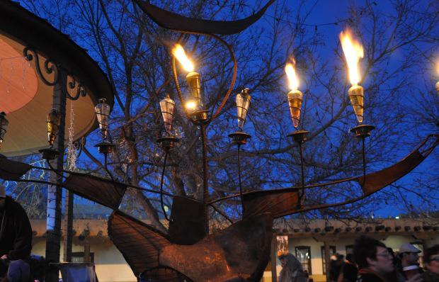 The menorah or Chanukah menorah (also known as a chanukiah) on each of the eight nights of Chanukah.