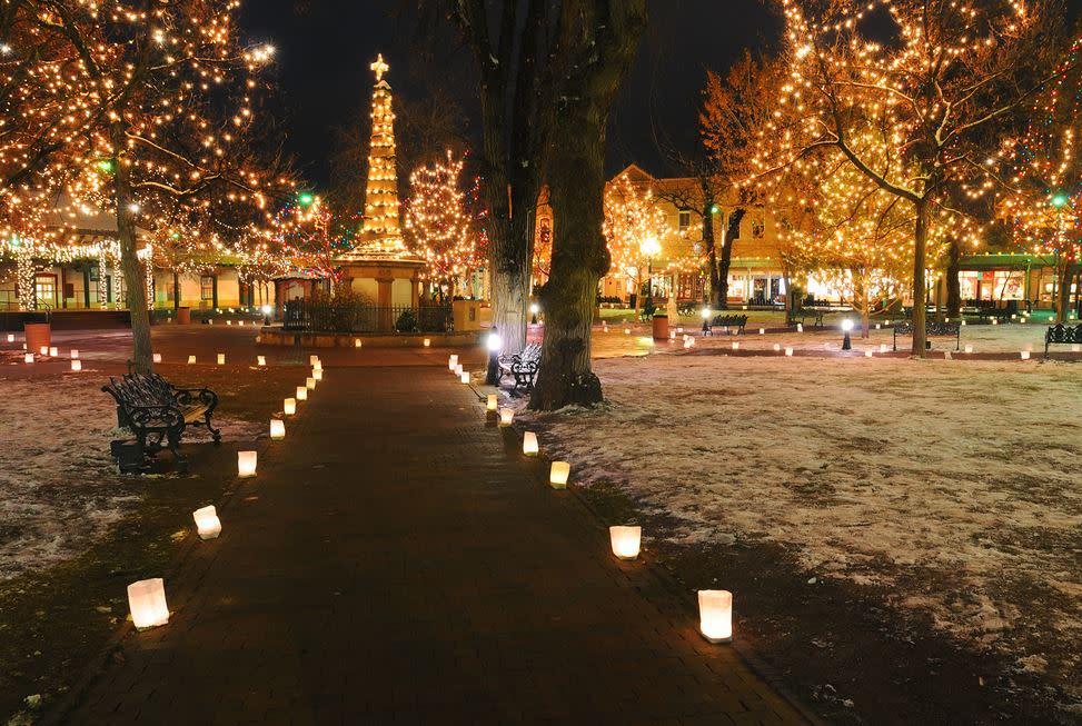 Farolitos on the plaza will help light up 2016! (Photo courtesy of Michael Menefee)
