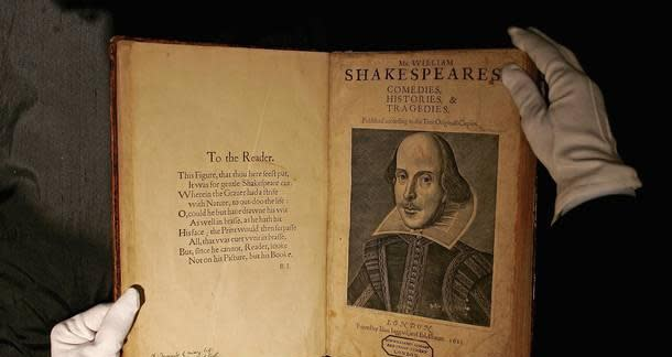The first folio of Shakespeare, published in 1623, is one of the most famous books in the world. (Photo courtesy of Folger Shakespeare Library)