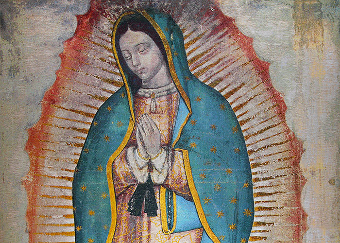 This digital image is a reproduction of the image left on the tilma of St. Juan Diego in present-day Mexico City in 1531.