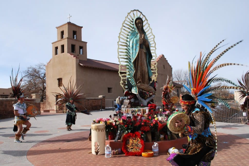 The newest addition to the Santuario de Guadalupe is a 12 foot statue that stands in front. (Photo courtesy of MarkKane.net)