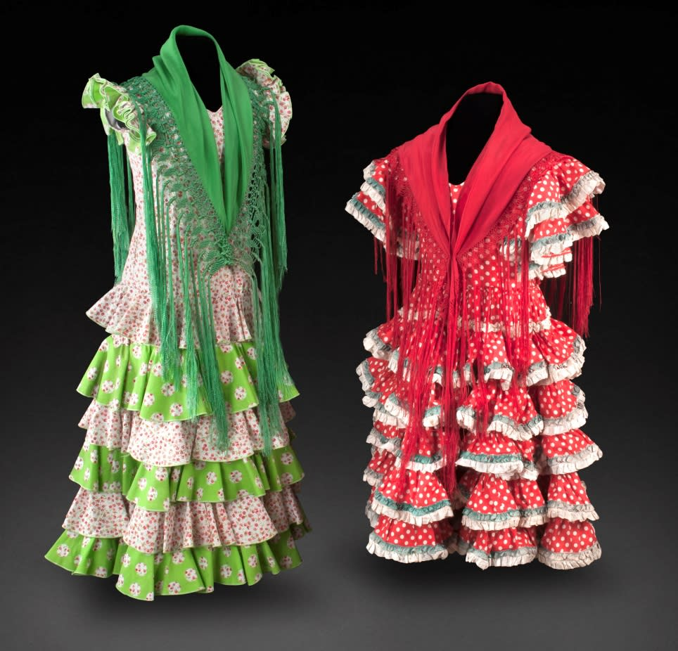 Child's Feria Dress, Sevilla, Spain, 1990s (left) and Child's Feria Dress, Sevilla, Spain, ca. 1960s (right). Left, Private collection. Right, Gift of Robin Martin, Museum of International Folk Art (A.2011.29.5). Photo by Blair Clark.
