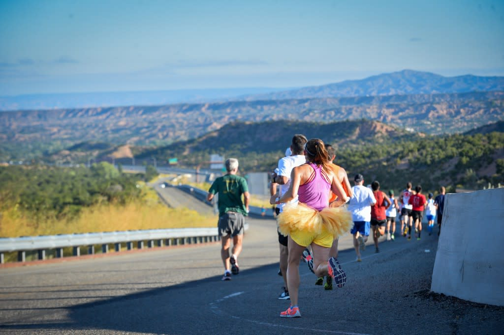 The Santa Fe Thunder Marathon course guides runners through beautiful Northern New Mexican landscapes. (photo courtesy of Santa Fe ThunderHalf Marathon)