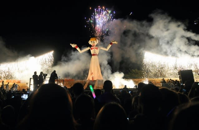 """Fireworks and raucous chant's of """"burn him"""" occupy Fort Marcy Park on September 2. (Photo courtesy of The Burning of Will Schuster's Zozobra)"""