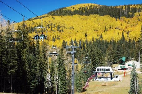 View beautiful fall foliage from a from the SantaFe Ski Basin chairlift. (photo courtesy Ski SantaFe)