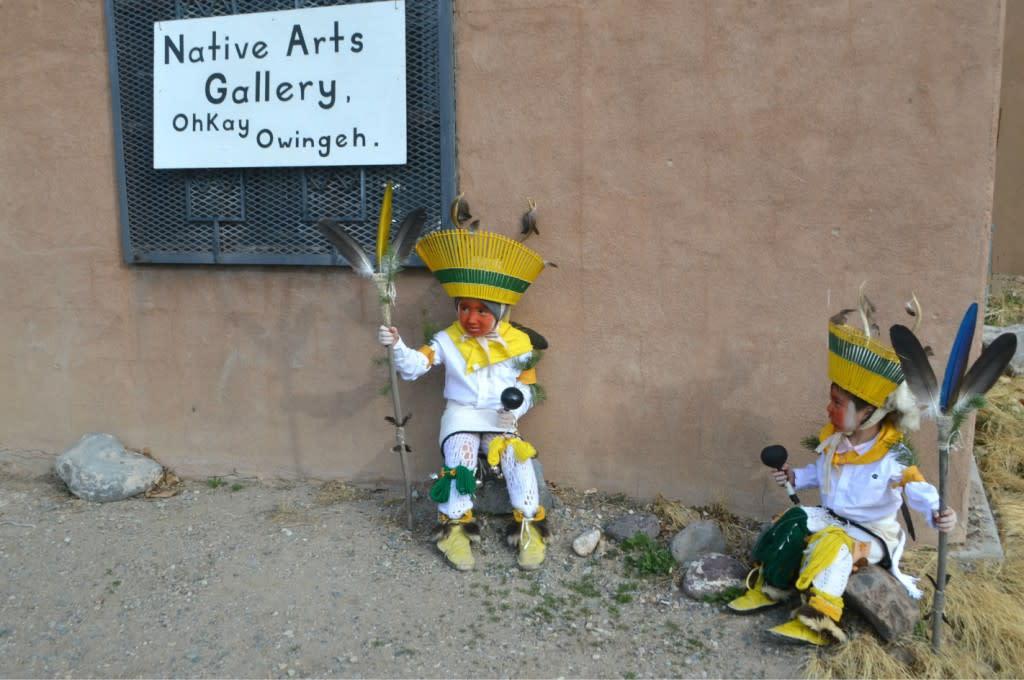 Deer Dancers taking a break at the Native Arts Gallery, Ohkay Owingeh