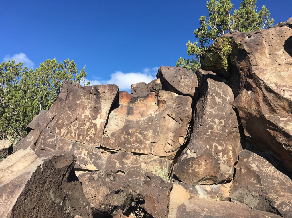 Hundreds of petroglyphs can be found along the mesa above the Santa Fe River. (Photo courtesy of Santa Fe County)