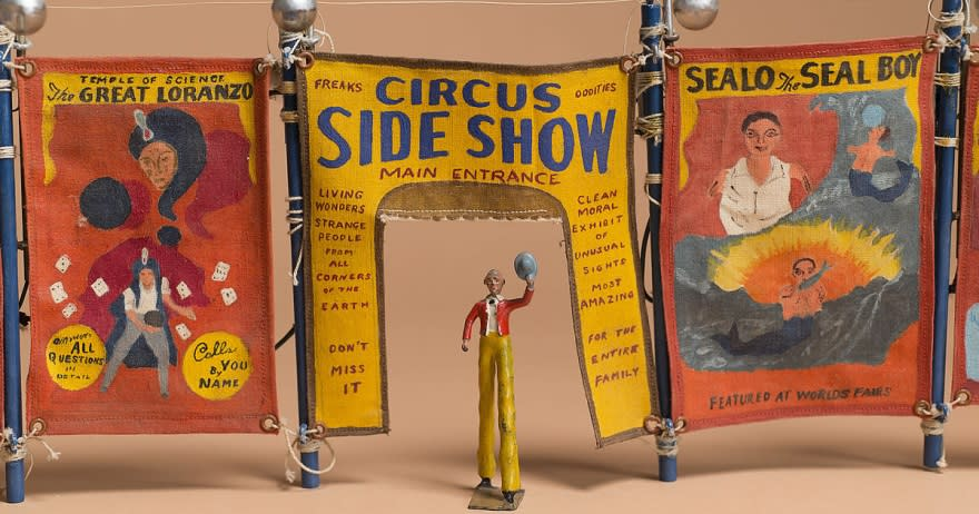 "The Morris Circus is modeled after a 1930s ""railroad circus,"" back in the days when a circus would come to town by rail, set up in a day, perform for a local audience, then pack up and move on to the next venue. (Photo courtesy of MOIFA)"