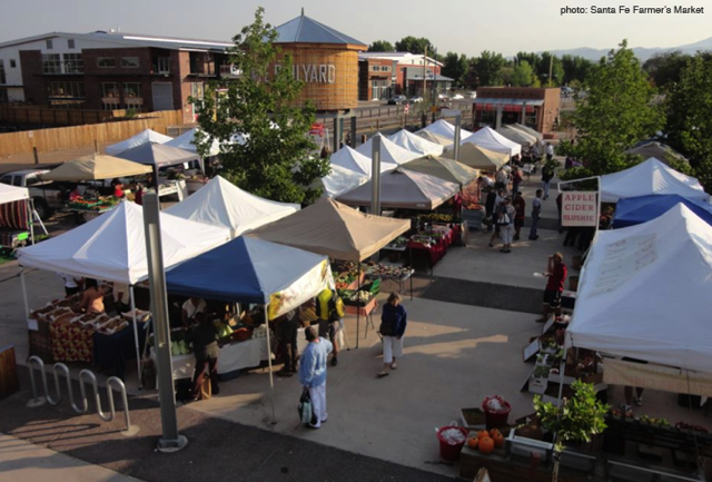 Locals and visitors gather at the Railyard to shop the Farmers Market. (Photo courtesy of Santa Fe Farmers Market)