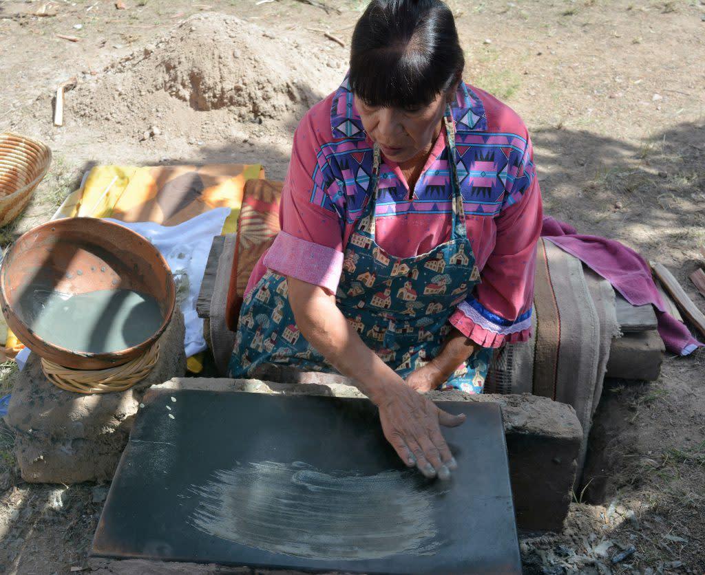 "(Traditional Pueblo Blue Corn ""Piki"" Bread-Making)"