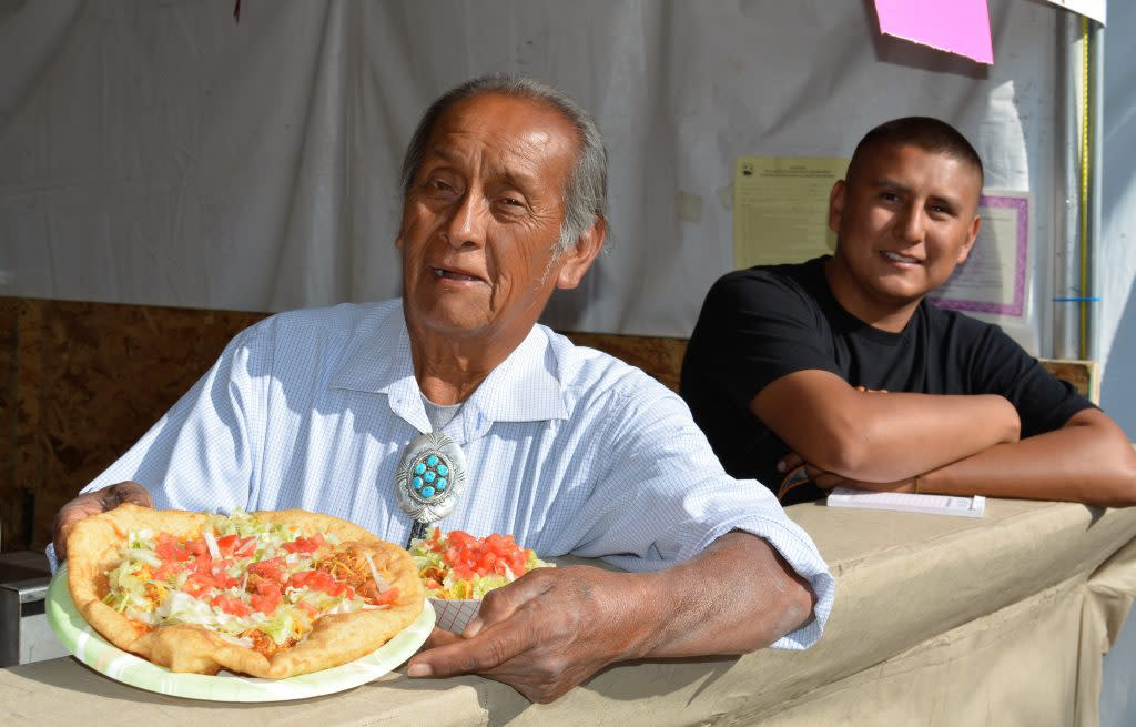 (Indian Taco and Frito Pie Served by Food Vendor at Indian Market)