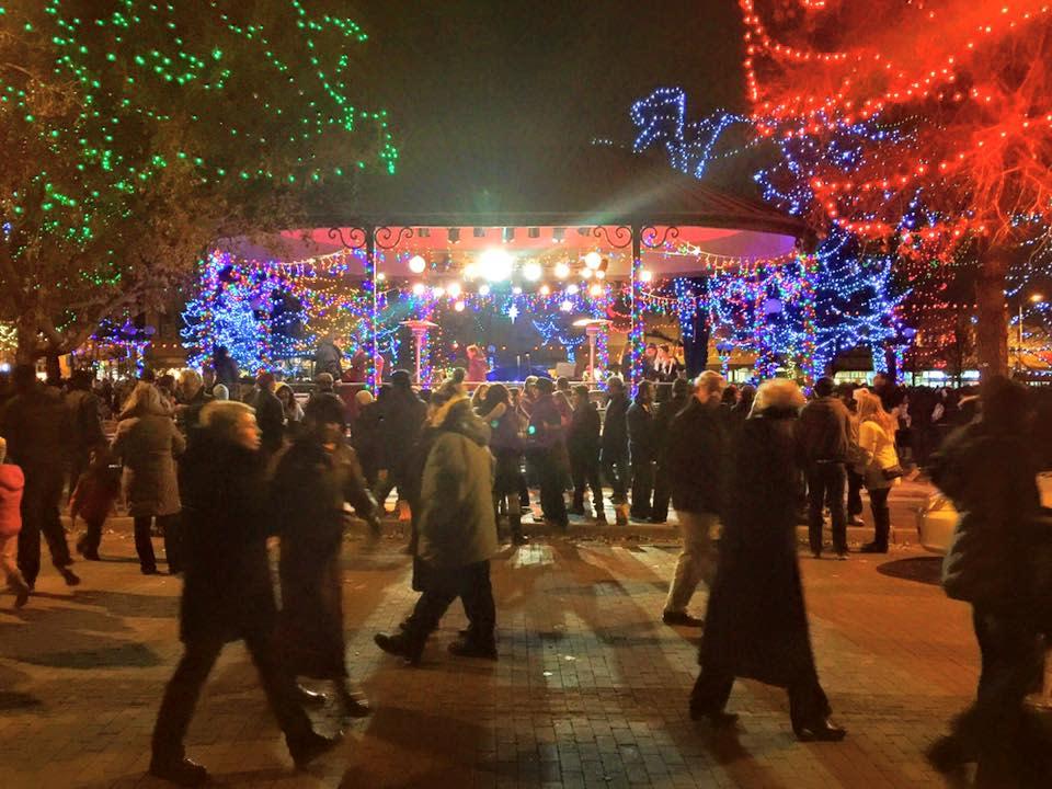 The Santa Fe plaza is transformed into a world of holiday light wonder. (Photo courtesy of TOURISM Santa Fe)