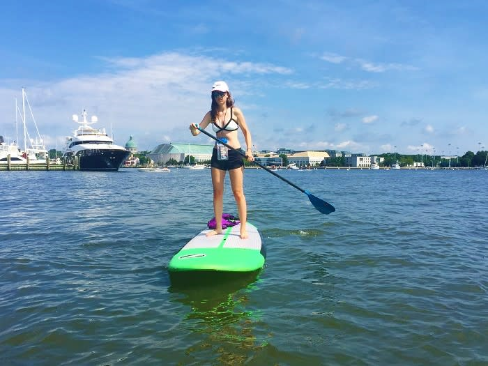 Author's daughter paddles down Spa Creek.