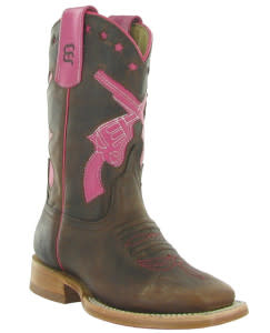 kids_brown_with_pink_pistols_boots_from_denards