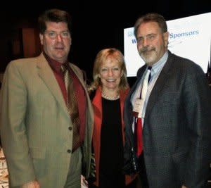 State Representative Myra Crownover with Chamber President Chuck Carpenter (right) and Chamber Board Chair Chuck Fremaux (left). Picture from Representative Crownover's Facebook Page.