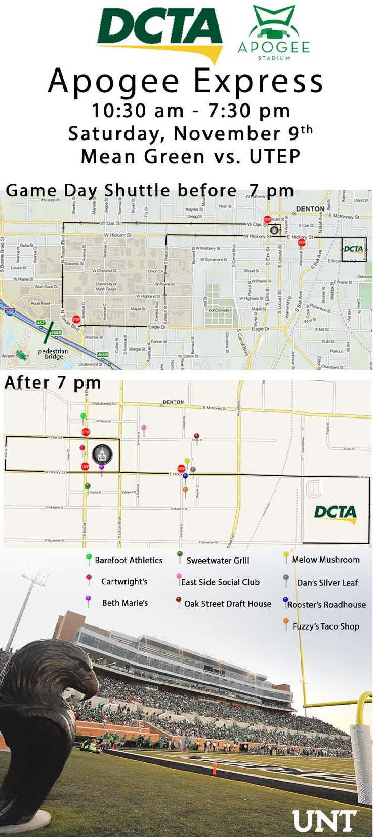 Apogee Express, DCTA, North Texas, Mean Green, Downtown Denton