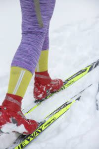 Cross Country skiing for beginners boot close-up in Laramie, Wyoming