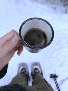 Coffee on the snowshoe trail