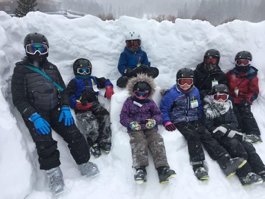 Wyoming family skiing outside Laramie