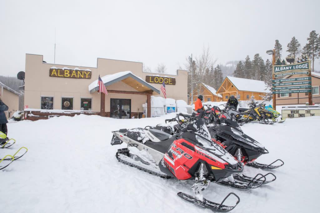 Snowmobile destinatin Albany Lodge Wyoming