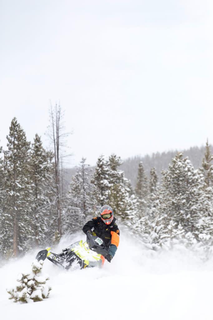 Snowmobiling Wyoming snowy range mountains