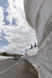 Wyoming Scenic Drives Snowy Range Byway opening early season snowpack