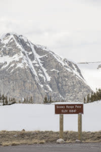 Wyoming scenic drive the Snowy Range Pass Elevation Sign