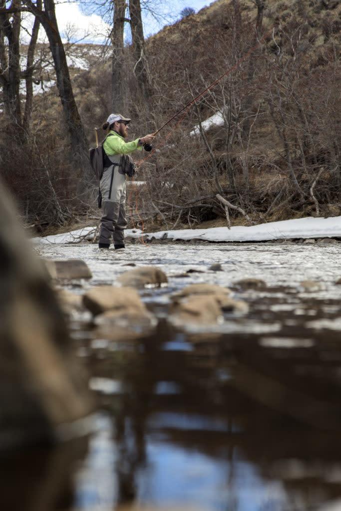Wyoming secret fishing spot along an unamed river.