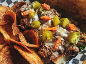 Outdoor dining Italian Beef Sandwich (photo credit Born in a Barn)
