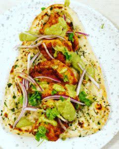 Al Fesco dining Garlic Naan and Chicken Kabab
