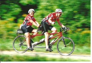 John and Jean White are avid tandem bike riders.
