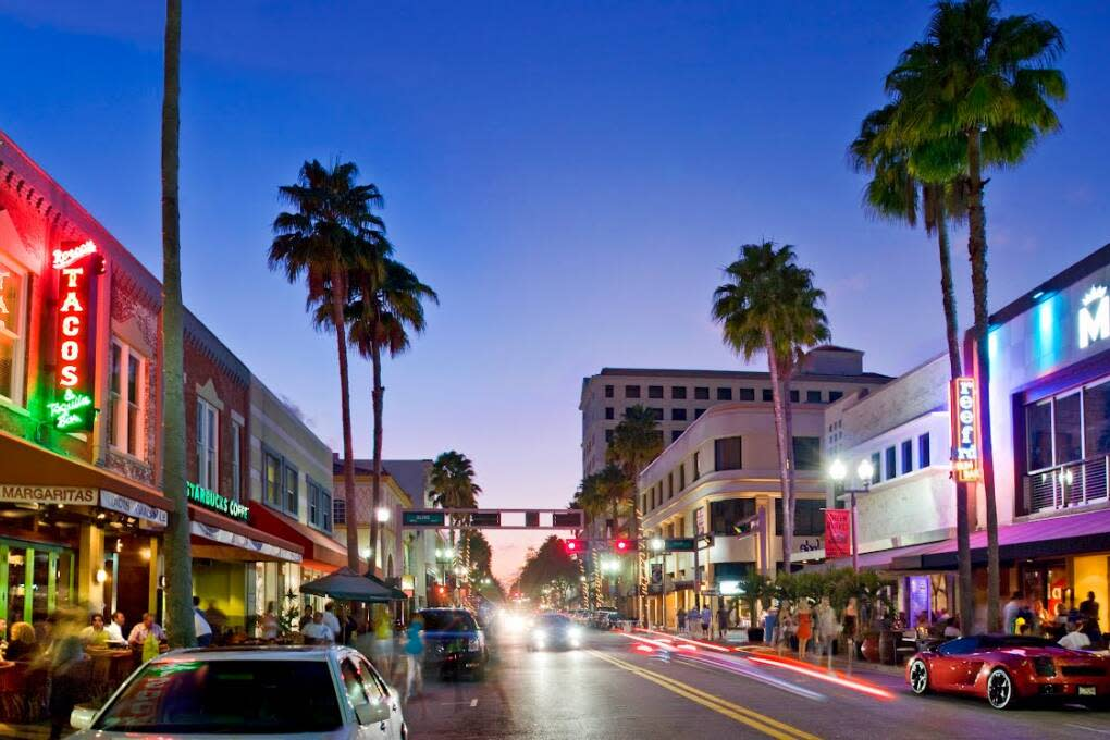 Experience the exciting nightlife of downtown West Palm Beach on Clematis Street.