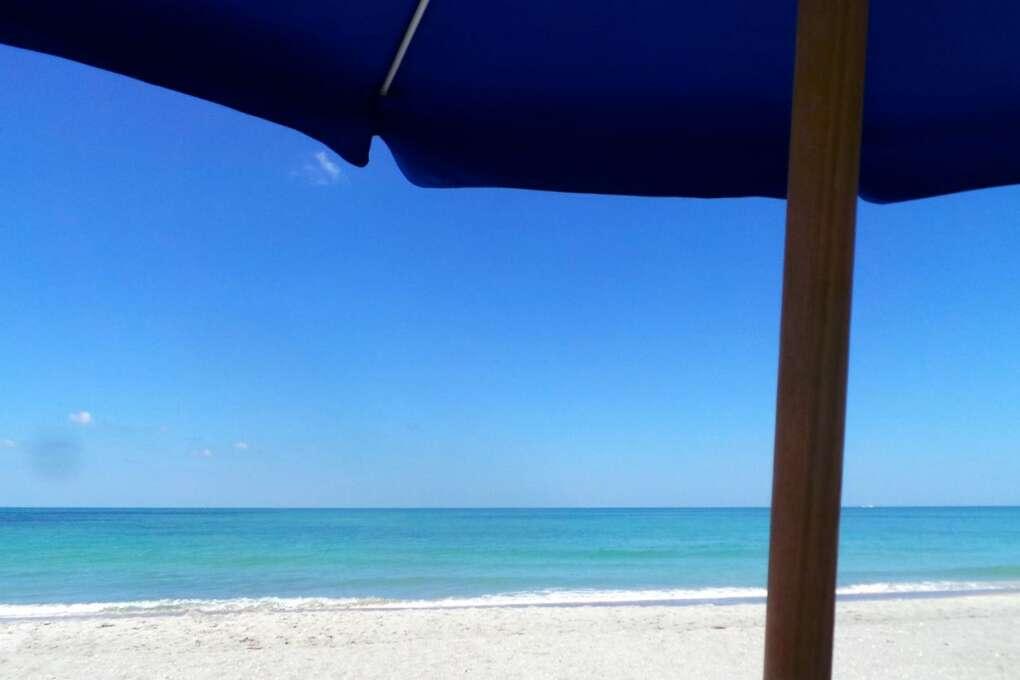 View from under a beach umbrella at South Seas Island Resort on Captiva Island.