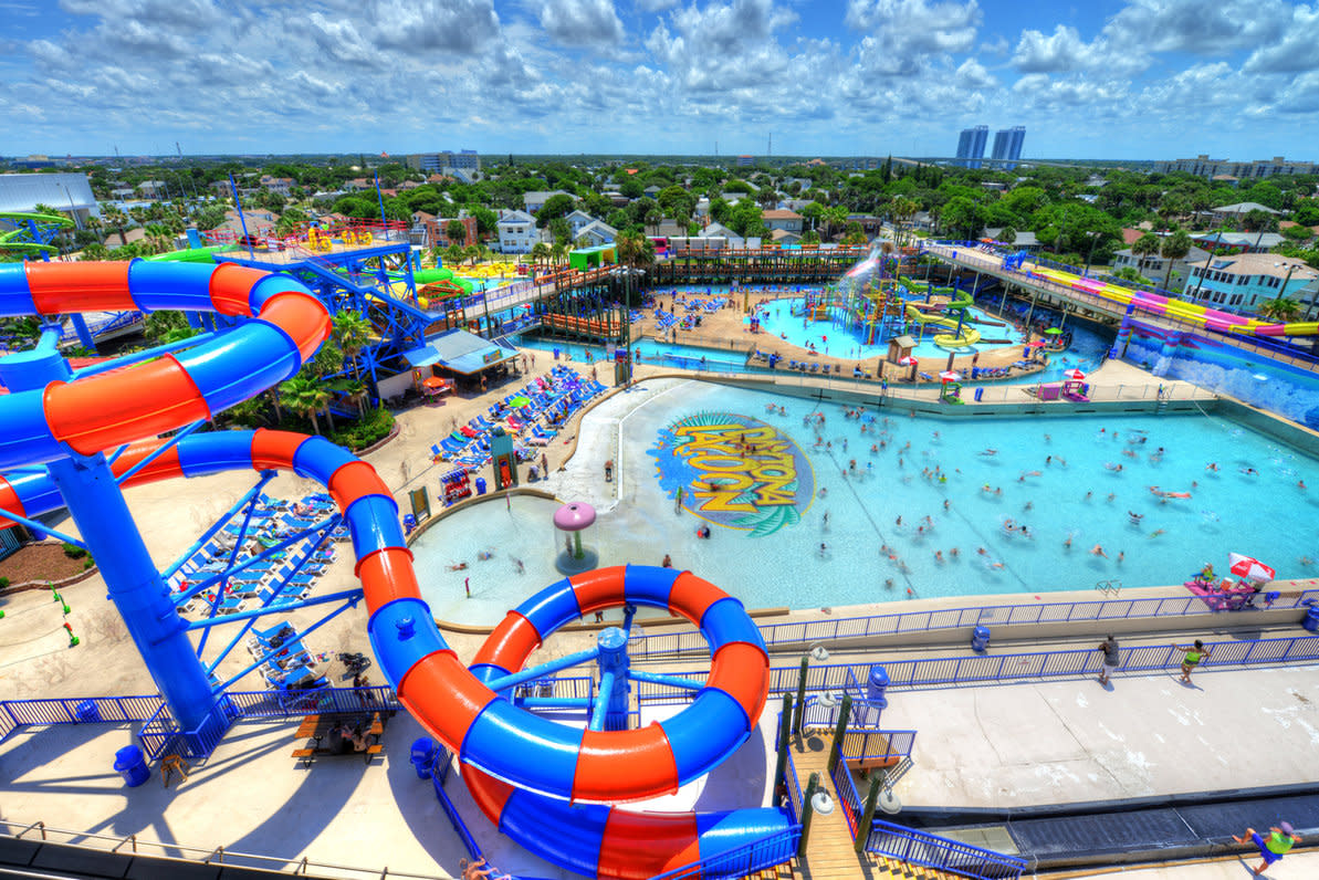 Daytona Lagoon is a water park and arcade with water slides, a wave pool, tubing river, go karts, laser tag and more near the beach.