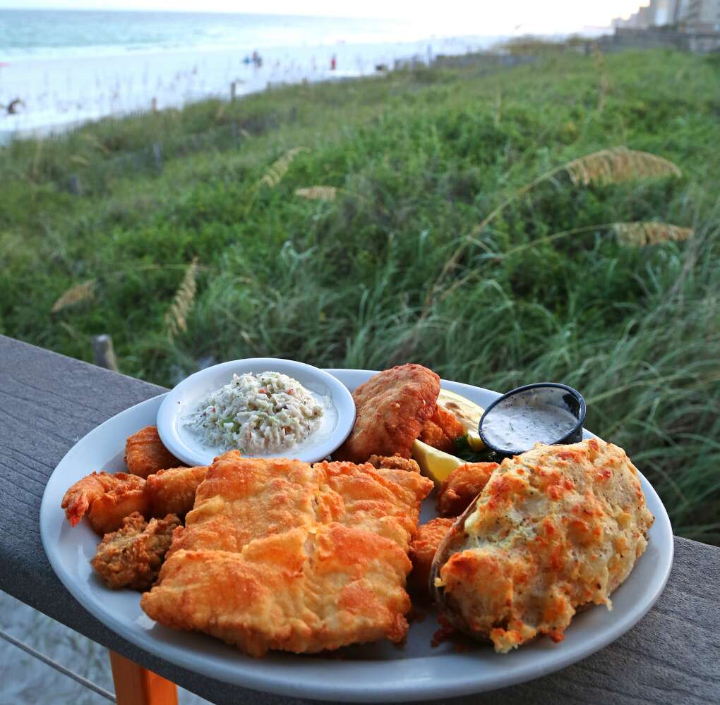A seafood combination platter is offered at the Back Porch Seafood and Oyster House.