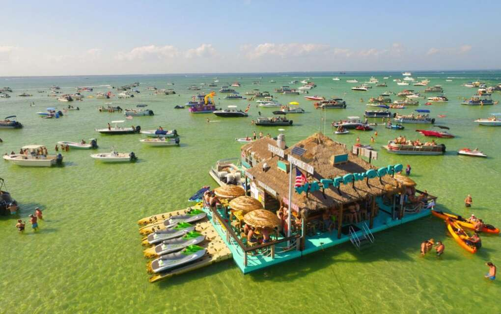Crab Island is a submerged sandbar accessible only by boat between March and October.