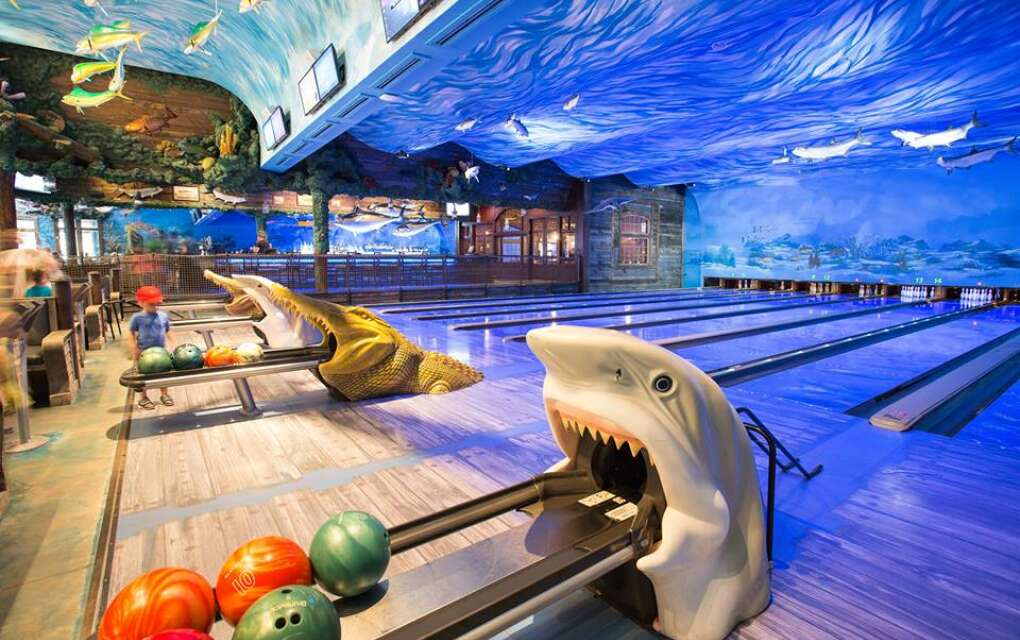 Uncle Bucks FishBowl and Grill is a nautical-themed bowling alley where families can eat while they bowl.