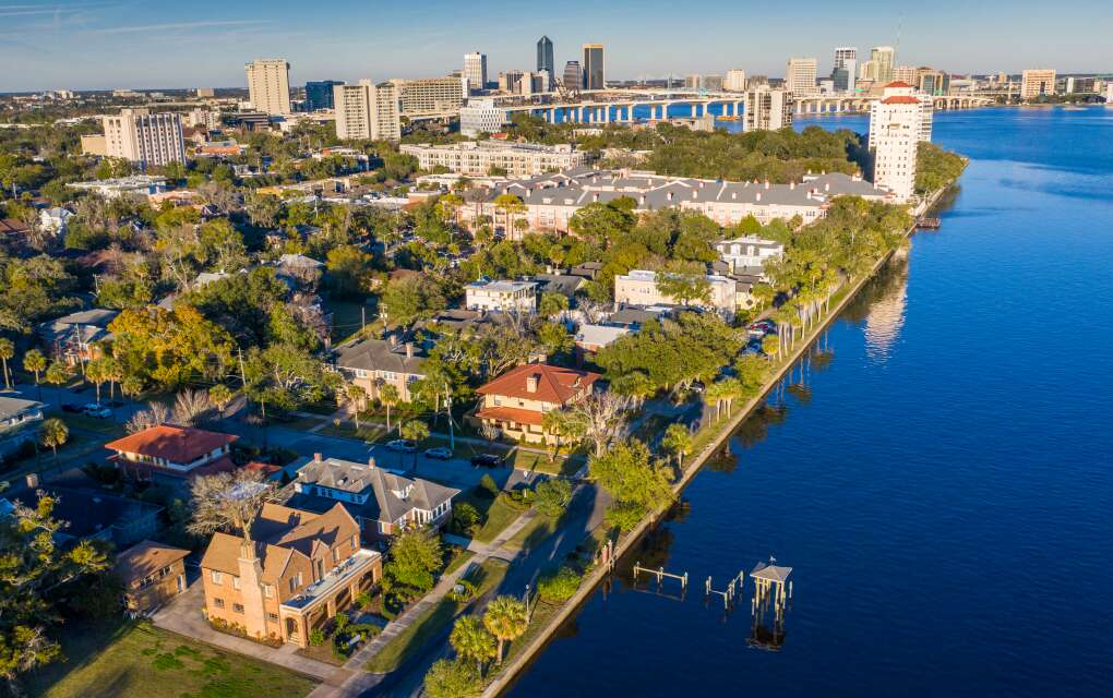 An aerial view shows part of the Riverside Avondale Preservation near downtown Jacksonville.