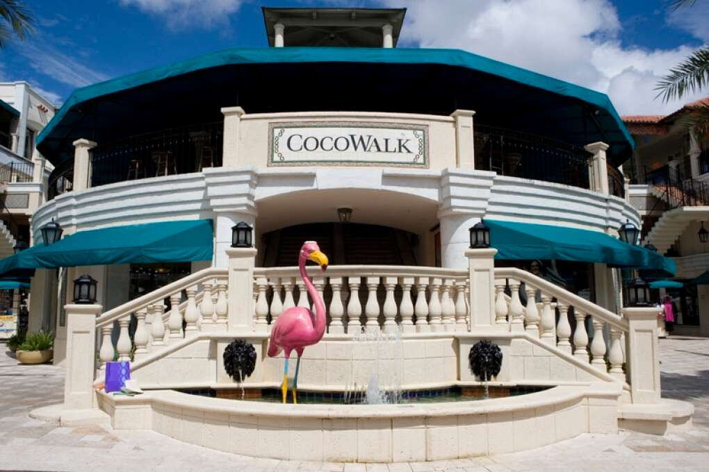 CocoWalk Miami shopping mall entrance with a flamingo statue in front CocoWalk in Coconut Grove offers a large array of shopping, dining and nightlife options.