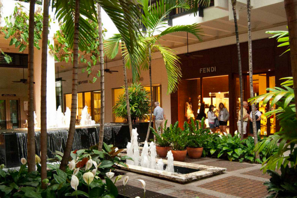 Water fountain inside the Bal Harbour shopping mall in Miami
